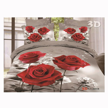 3D Queen King Size Bed Quilt/Duvet Sheet Cover Cotton reactive printing 4pcs 1.8M bed 64