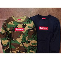Supreme Classic Popular Women Men Casual Camouflage Embroidery Long Sleeve Hooded Sweater Pullover Top Sweatshirt I/A