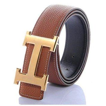 LFMON H Belts for Men Business Casual Leather Belt 1.5inch Wide (Waist Size 28-34 inch, Brown Gold)