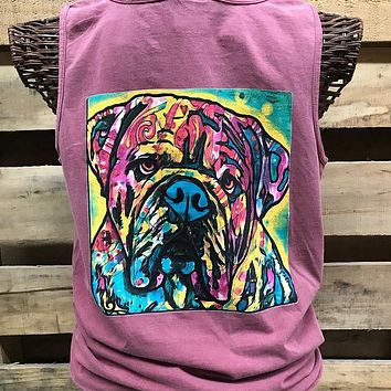 Southern Chics Watercolor Bull Dog Comfort Colors Bright Tank Top Shirt