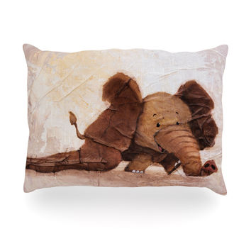 "Rachel Kokko ""The Elephant with the Long Ears"" Oblong Pillow"