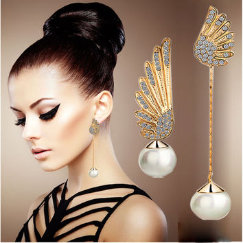 Women Elegant Wings Rhinestone Ear Stud Gold Dangle Earrings Jewelry