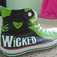 Wicked (the musical) hand painted hi-top shoes.