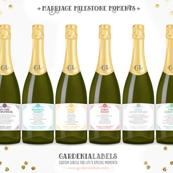 Marriage Milestone Poems, Unique Wedding Gift, Newlywed Year of Firsts Champagne Labels, Bridal Shower Wine Basket, Married Wine Poem Labels