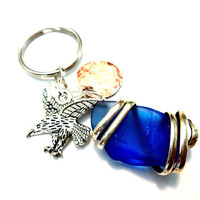 Masculine Wire Wrapped Sea Glass Keychain, Mens Mixed Metal Eagle Key Ring, Gift for Men