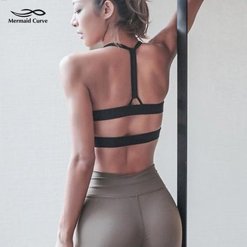 Mermaid Curve 2018 New Women Sports Bras With Padding Push Up Bra Shockproof Vest Tops For Running Gym Fitness Jogging Yoga Bra