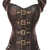 Rivet Buckled Lace-Up Split Side Overbust Corset