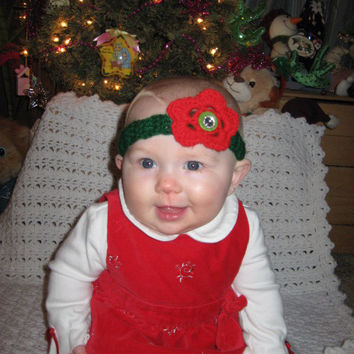 SALE BOGO Christmas Red and Green Headband Sized Newborn with Bling- Adult headband- Ready to ship, Photo Prop Pick one, or set