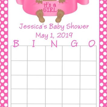 10 It's A Girl Baby Shower Bingo Cards Dark Skin