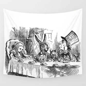Vintage Alice in Wonderland Mad Hatter & rabbit tea party antique goth emo book gothic drawing print Wall Tapestry by IGallery