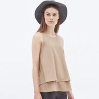 Apricot Layered Hem Back Slits Sleeveless Swing Top