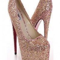 KISS KOUTURE Rhinestones Jeweled High Heels Shoes Pumps Stilettos ROSE GOLD