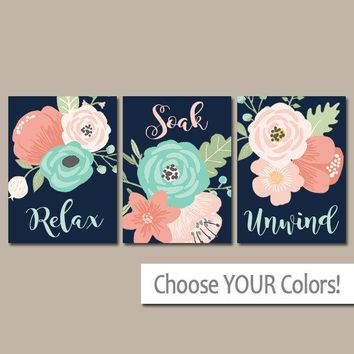 Coral Aqua Navy BATHROOM Wall Art, CANVAS or Print, Flower Bathroom Decor, Floral Bathroom Quote Wall Decor, Relax Soak Unwind, Set of 3 Art