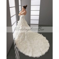 Strapless dropped waist A-line organza wedding dress
