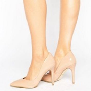 London Rebel Open Waisted Patent Nude Court Shoe Heel at asos.com