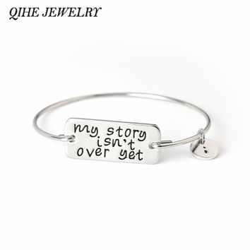 QIHE JEWELRY My Story Isn't Over Yet Bangle Bracelet Semicolon Jewelry Wire Bangle Suicide Awareness Inspirational Jewelry