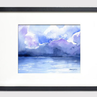 Ocean Watercolor Painting - 5 x 7 - Giclee Print - Abstract Painting