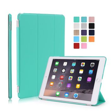 Smart Stand PU Leather Case for iPad Air 2 iPad 6 with Crystal Hard Back Cover with Auto Sleep UP/Wake