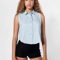 American Apparel - Denim Sleeveless Crop Button-Up