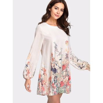 Lantern Sleeve Button Keyhole Back Floral Dress