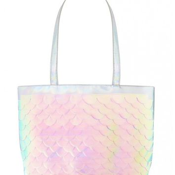 Bianca Mermaid Scale Holographic Large Tote Bag