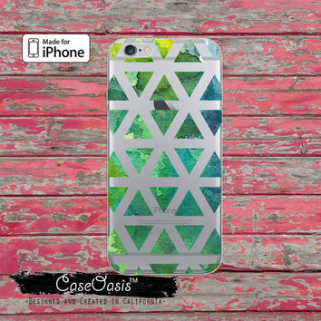 Green Watercolor Triangle Pattern Tumblr Clear Case For iPhone 6 iPhone 6 + iPhone 6s iPhone 6s Plus iPhone 5/5s iPhone 5c iPhone SE Case