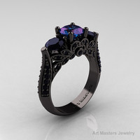 Classic 14K Black Gold Three Stone Russian Chrisoberyl Alexandrite Black Diamond Solitaire Ring R200-14KBGBDAL