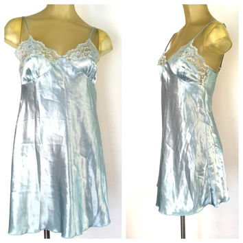 Blue Full Slip, Shiny Satin Lingerie, Blue Lace Slip, Vintage Slip, Adjustable Straps, Blue Satin Teddy, Sexy Nightgown, Shiny Blue Nightie