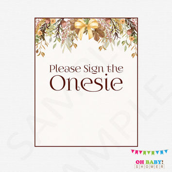 Please Sign the Onesuit, Fall Baby Shower, Guestbook Alternative, Printable Games, Autumn Baby Shower Games, Watercolor, Rustic, Boho, FF01