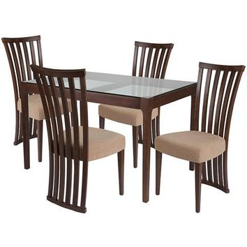Oakdale 5 Piece Walnut Wood Dining Table Set with Glass Top and Dramatic Rail Back Design Wood Dining Chairs - Padded Seats