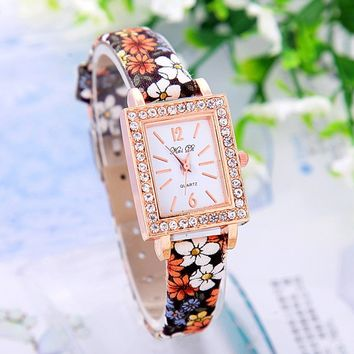 Women's Rectangular Face Floral Print Rhinestone Watches with Denim