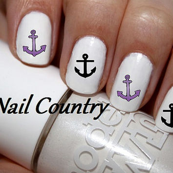 50pc Purple And Black Anchor Nail Decals Nail Art by NailCountry