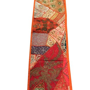 Moroccan Patchwork Table Runner Orange Sequin Embroidery Vintage Tapestry 60x18