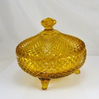 Amber English Hobnail Candy Dish - Westmoreland 3 Footed Lidded Bowl - Hard to Find