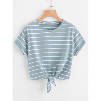 Leading The Troops III Striped Tee - Blue