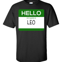 Hello My Name Is LEO v1-Unisex Tshirt