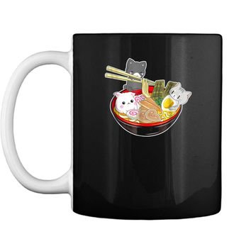 Kawaii Japanese Anime Cat  Bowl Ramen Noodle Gift Tee Mug