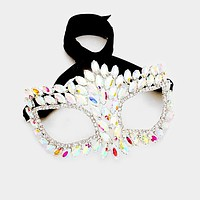 Drina Marquise Cluster Masquerade Mask | AB Crystal | Silver