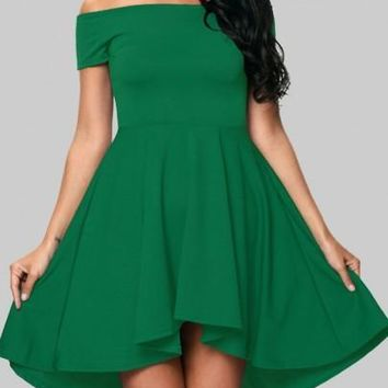 Green Irregular Draped Off Shoulder Backless High-low St. Patrick's Day Homecoming Party Midi Dress