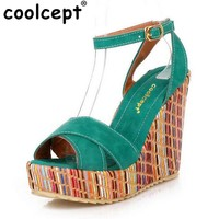 Coolcept Summer Style Bohemian Wedges Women Sandals For Lady Shoes High Platform Open Toe Flip Flops Size 34-39 PA00658