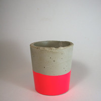 Handmade Modern Neon Pink Concrete Planter/ Container