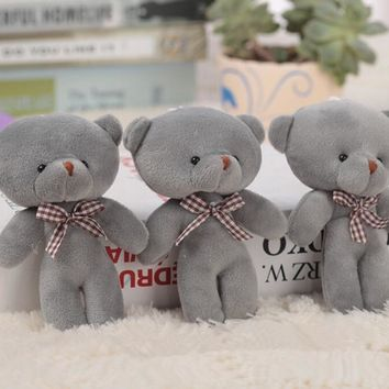 10pcs 12cm high Gray color Lovely Small Plush Joint teddy bear Toy ,Wedding Bouquet Car Teddy pendant Key ring chain