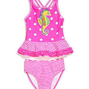 Flapdoodles Two-Piece Seahorse Tankini Set Girls 4-6x
