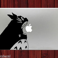 Totoro Biting Apple Logo Humor Decals Stickers For Macbook 13 Pro Air Decal