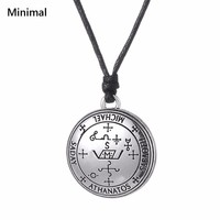 Minimal New Gold Sliver Pendant Necklace Amulet Talisman Engrave Saday Michael Athanatos Sabaoth Spells Wicca Jewelry