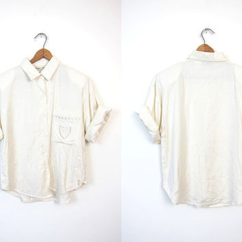 Prep School White 80s Blouse Button Up Rayon Short Sleeve Shirt Minimal Preppy 1980s Cut Out Pocket College Prep Vintage Womens Small