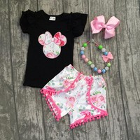 2 pieces Summer baby girls black pink pom-pom shorts flower pattern clothes boutique matching accessories