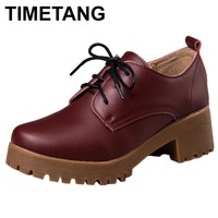 TIMETANG Spring\winter British style split cow leather women square heel Platform shoes woman rounded lace-up oxfords women C268