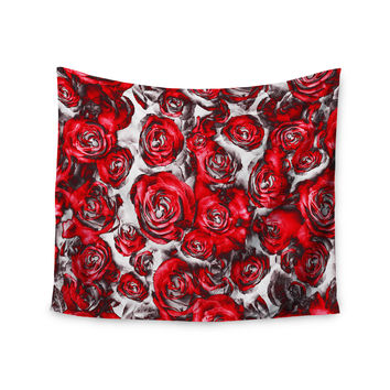 "Dawid Roc ""Red Roses Floral Abstract"" Red Abstract Wall Tapestry"
