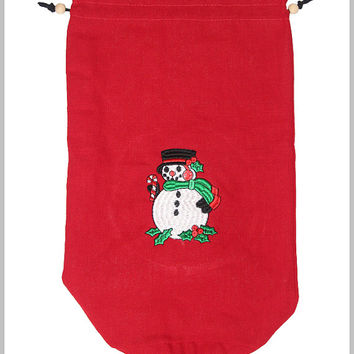 Snowman Embroidery on a red Drawstring Bag (Free Shipping)